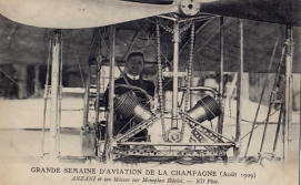 A rare image of Anzani at the controls of a Bleriot airplane.