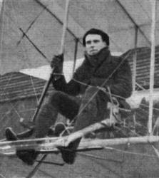 Waldo Ridley Prentice at the controls of the tail-first ASL Valkyrie monoplane. The plane carried the first ever commercial cargo - a box of light bulbs was flown from Shoreham to Hove in April 1911