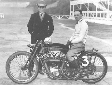 Hubert Hagens stands behind possibly his most famous creation. Years ahead of its time in 1923, with it's twin overhead-cam, twin carb 996cc motor, Claude Temples' multi record breaking Anzani was a true world beater.
